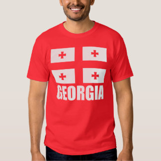 Flag of Georgia White Text Red T Shirts