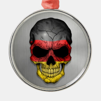 Flag of Germany on a Steel Skull Graphic Silver-Colored Round Decoration