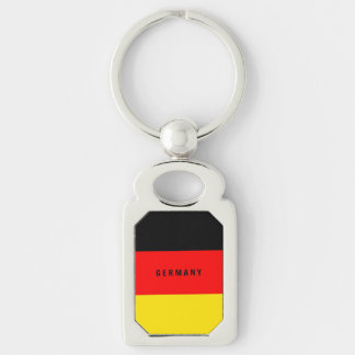 Flag of Germany Silver-Colored Rectangle Key Ring