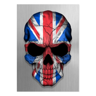 Flag of Great Britain on a Steel Skull Graphic Business Card Template