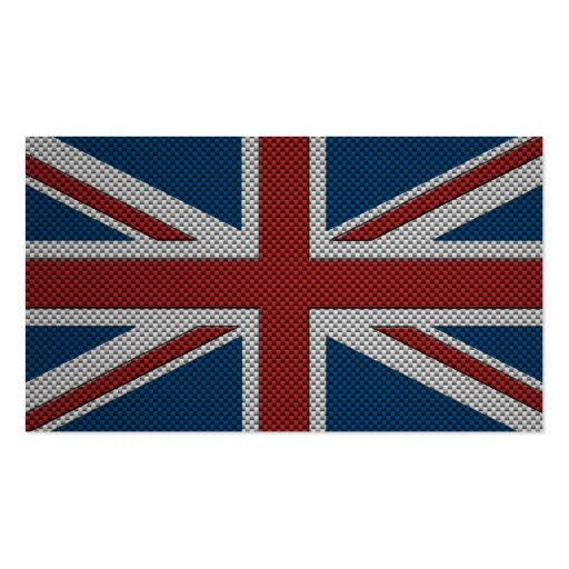 Flag of Great Britain with Carbon Fiber Effect Business Cards