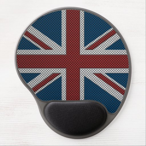 Flag of Great Britain with Carbon Fiber Effect Gel Mouse Mat
