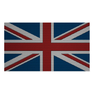 Flag of Great Britain with Carbon Fiber Effect Pack Of Standard Business Cards
