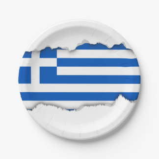 Flag of Greece 7 Inch Paper Plate