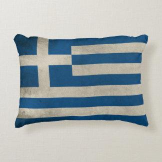 Flag of Greece Grunge Decorative Cushion
