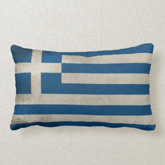 Flag of Greece Grunge Lumbar Cushion