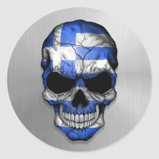 Flag of Greece on a Steel Skull Graphic Round Sticker