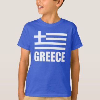 Flag Of Greece White Text Blue T-Shirt