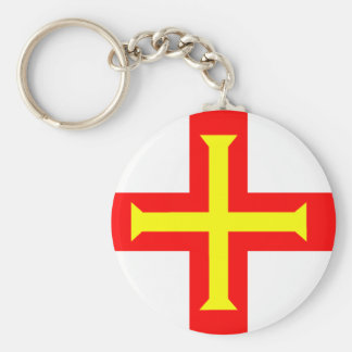 Flag of Guernsey Basic Round Button Key Ring