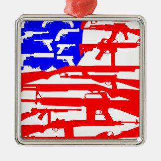 Flag Of Guns 2nd Amendment Silver-Colored Square Decoration