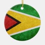 Flag of Guyana Round Ceramic Decoration