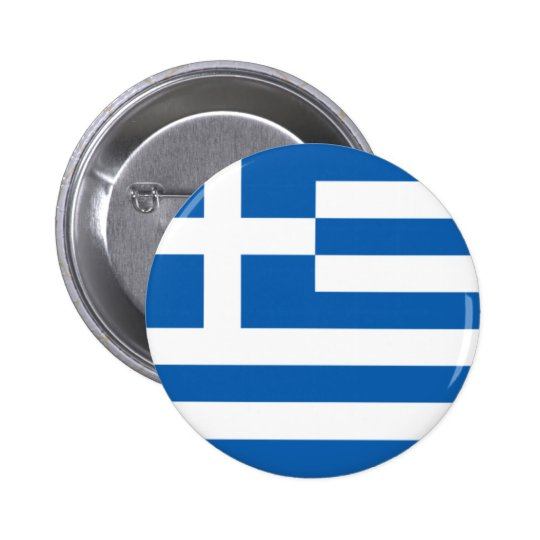 Flag of Hellenic Republic (Greece) 6 Cm Round