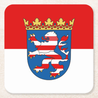 Flag of Hesse Square Paper Coaster