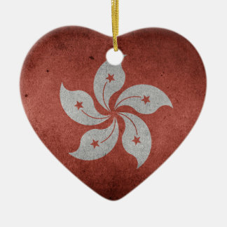 Flag of Hong Kong Ceramic Heart Decoration