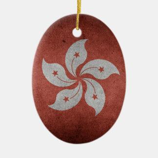 Flag of Hong Kong Ceramic Oval Decoration