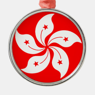 Flag of Hong Kong Silver-Colored Round Decoration
