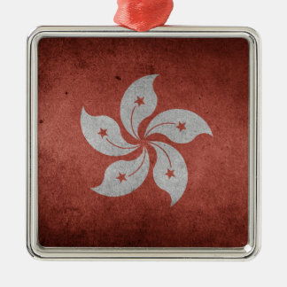 Flag of Hong Kong Silver-Colored Square Decoration