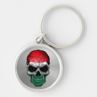 Flag of Hungary on a Steel Skull Graphic Key Ring