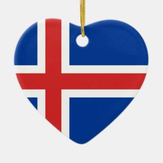 Flag of Iceland Ceramic Heart Decoration