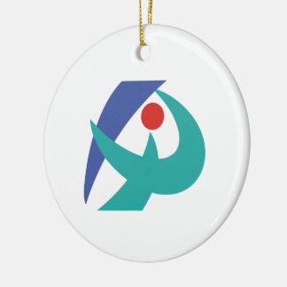Flag of Iga, Mie, Japan Round Ceramic Decoration