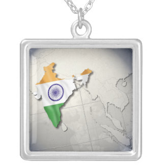 Flag of India Silver Plated Necklace