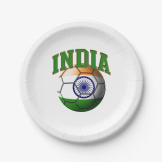 Flag of India Soccer Ball Paper Plate