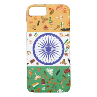 Flag of India with cultural items iPhone 7 Case