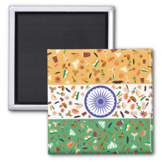 Flag of India with cultural items Magnet