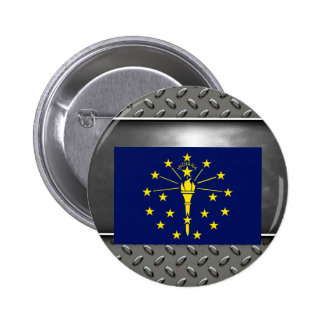 Flag of Indiana 6 Cm Round Badge