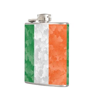 Flag of Ireland and shamrocks Flasks