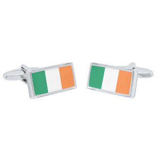 Flag of Ireland Cufflinks Silver Finish Cuff Links
