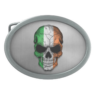 Flag of Ireland on a Steel Skull Graphic Oval Belt Buckles