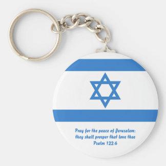 Flag of Israel, Basic Round Button Key Ring