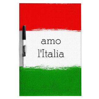 Flag of Italy. i love Italy. text. Dry Erase Board