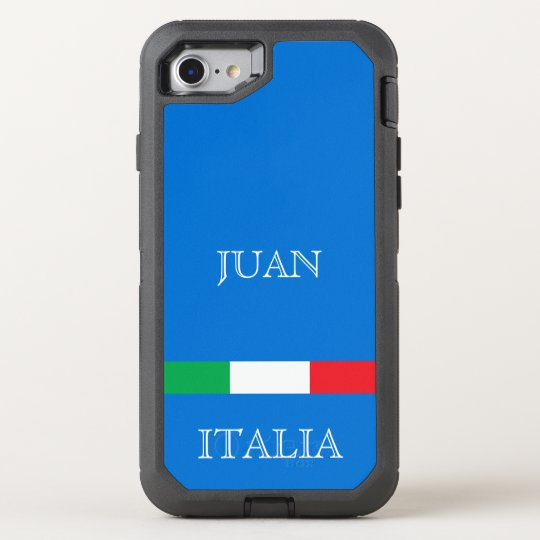 Flag of Italy on azure blue ocean add
