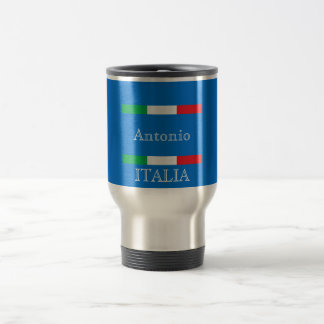 Flag of Italy on azure blue ocean add name Travel Mug