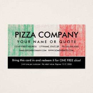 flag of italy pizza coupon business card