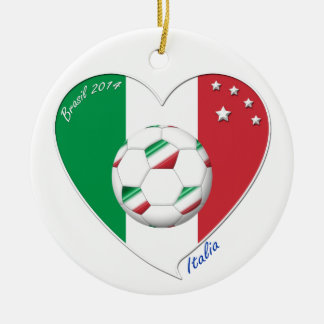 Flag of ITALY SOCCER of national heart 2014 Round Ceramic Decoration