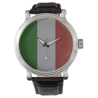 Flag of Italy with Carbon Fiber Effect Wristwatch