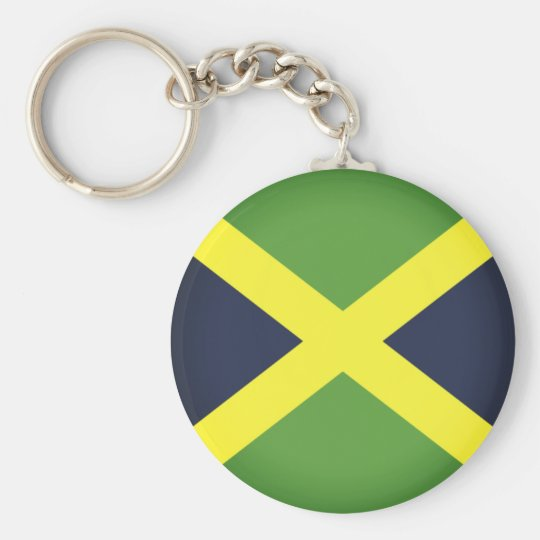 Flag of Jamaica Basic Round Button Key Ring