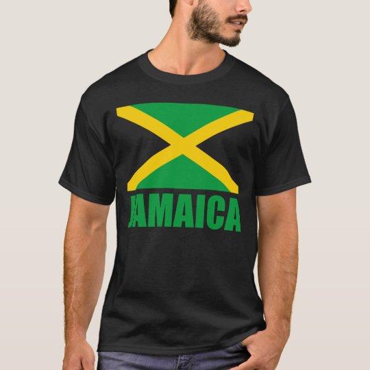 Flag Of Jamaica Green Text Black T-Shirt