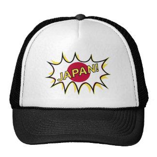 Flag Of Japan Kapow Comic Style Star Trucker Hat