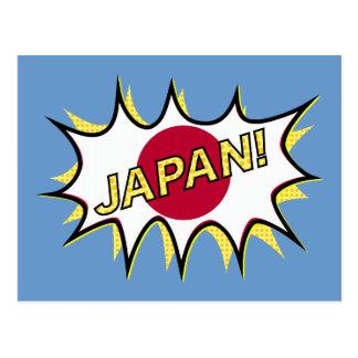 Flag Of Japan Kapow Comic Style Star Postcard