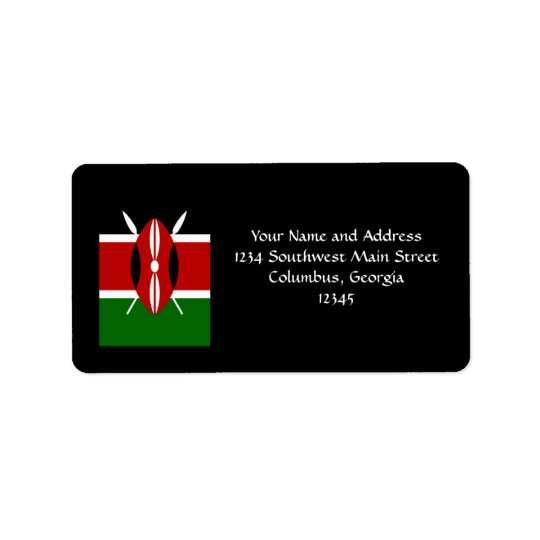 Flag of Kenya Africa Address Label