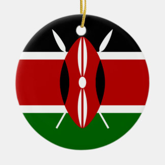Flag of Kenya Africa Round Ceramic Decoration