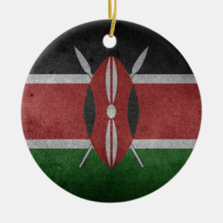 flag of Kenya Round Ceramic Decoration