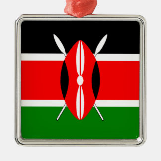 Flag of Kenya Silver-Colored Square Decoration