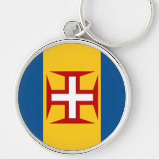 Flag of Madeira Silver-Colored Round Key Ring