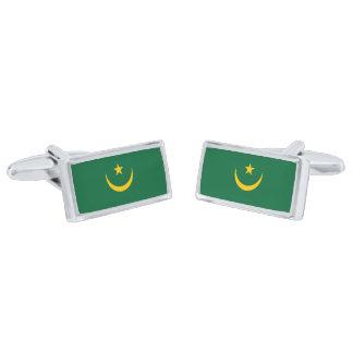 Flag of Mauritania Cufflinks Silver Finish Cuff Links