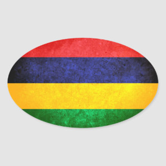 Flag of Mauritius Oval Sticker